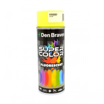 Spray retus vopsea decorativa cu efect fluorescent galben Super Color 400 ml, Den Braven