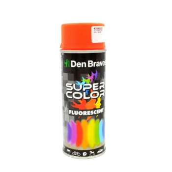 Spray retus vopsea decorativa cu efect fluorescent rosu orange Super Color 400 ml, Den Braven