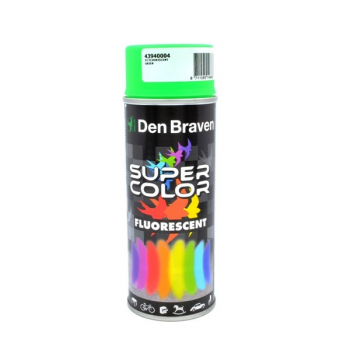 Spray retus vopsea decorativa cu efect fluorescent verde Super Color 400 ml, Den Braven